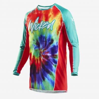 Tie Dye Jersey Teal/red